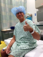 Dr. Breyer coudn't keep a strait face when he discussed pre surgical stuff with me wearing my stylish headgear. LOL